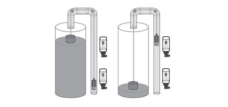 Livelli a contrappeso e a galleggiante serbatoi per switch BSS